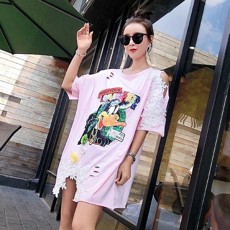 À Brodé shirt Motif Décoratif Marque Courtes noir blanc Marée Nouveau Animé Été Hip Dames Dessin Pink Paillettes 2018 Fleurs hop Manches T Femme zq6Uc7wP