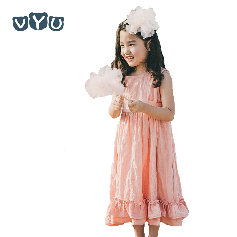 VYU Summer New Girl Cotton Long Dress Kids Sleeveless Princess Party Dress Girls Lovely One-piece Children Sundress 2017 new summer children girl long sleeve lace dress kids clothes cotton child party princess tank girl dress sundress age 2 10y