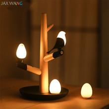 Modern Creative Bird Table Lamp Charging Wood Desk Lamps for Living Room Bedroom Bedside Energy-saving Lights Home Lighting Deco(China)