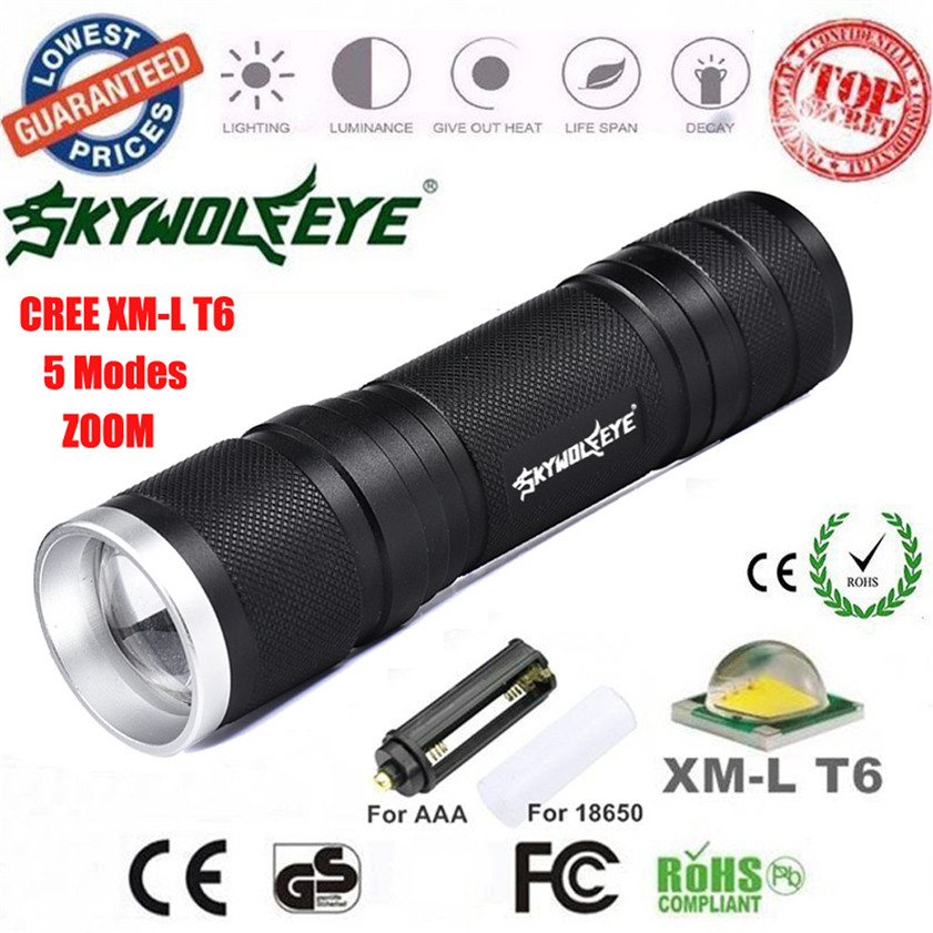 Super CREE XML-T6 LED Zoom 8000LM Flashlight Focus Torch Lamp 26650/18650/AAA Light 170308 super power 35000 lumen 21x xml cree t6 5modes flashlight for 26650 18650 battery high quality torch lamp hunting equipment