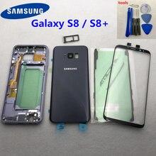 Pour Samsung Galaxy S8 Plus G955 G955F G950F boîtier complet en verre étui de porte de batterie arrière S8 G950 cadre moyen lentille en verre avant