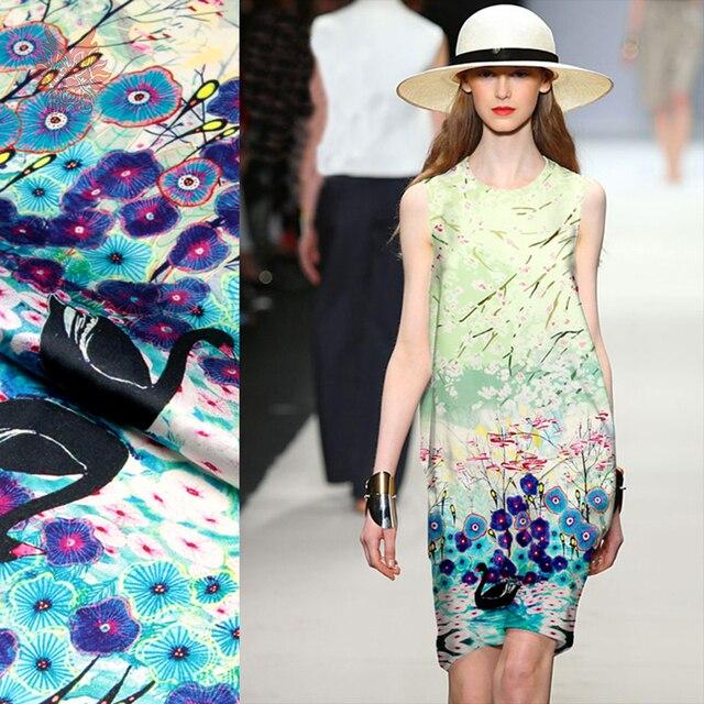 Luxury swan floral positioning print spandex silk fabric for dress stretch silk tissu telas tecidos stoffen 19mm SP5005