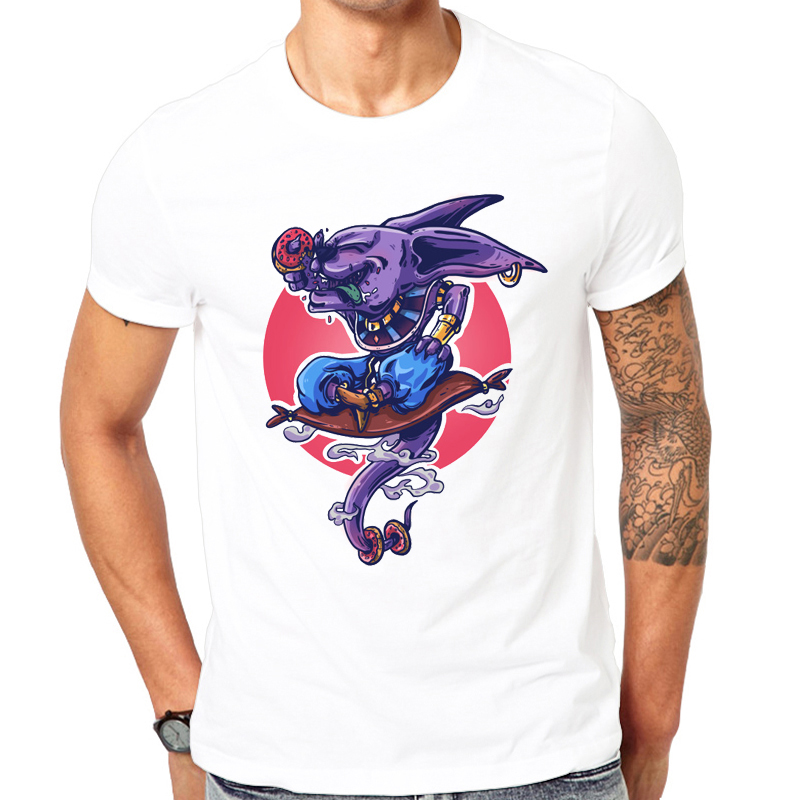 2018 Nyaste Fashion Cool Printed Beerus Destroy T-Shirt Sommar Trendiga Mäns Hip Hop Kortärmad Roliga Dragon Ball Tee Tops