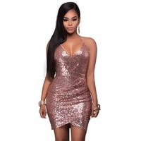 Backless Women Short Party Dress Bodycon Sexy Rose Gold Sequin Dress Deep V Neck Sexy Club