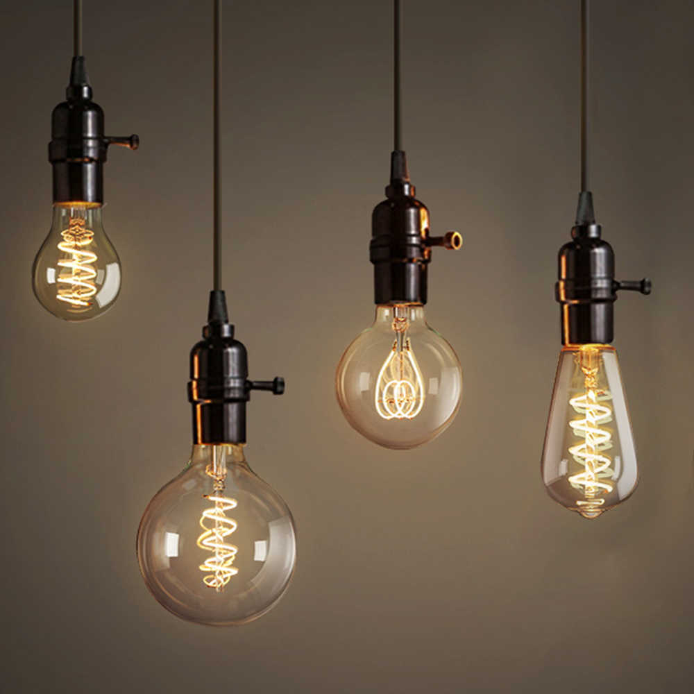 Edison LED Filament Bulb A60 ST64 G80 G95 Big Global Light Bulbs Vintage Filament Lamp E27 Gold Glass Indoor LED Lamp Dimmable
