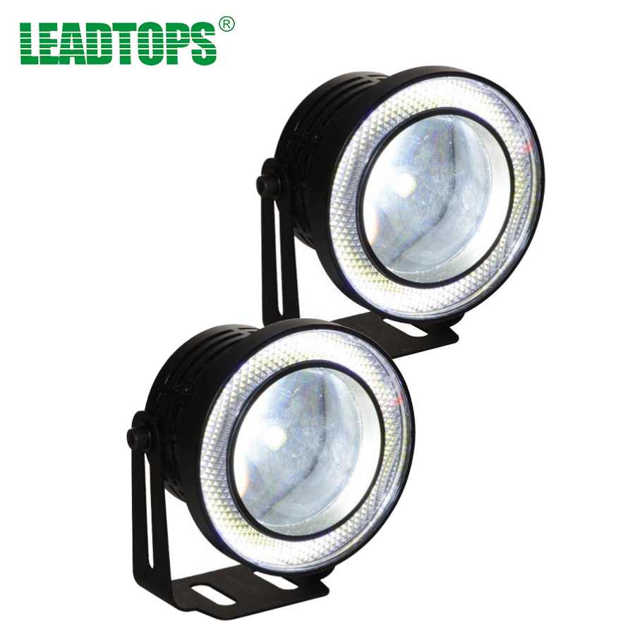 2pcs/lot Universal Led COB Fog Lights 2.5 inch 67mm Car Auto Fog lamp Angel Eyes By Car Light With Lens DC 12 Waterproof DRL BE guangzhou auto light car fog projector lens without bulb car lights 2 2 inch universal type