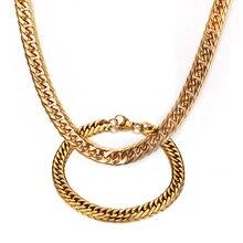 Vnox collar + pulsera joyería conjuntos chapados en oro de alta calidad cadenas de acero inoxidable para los hombres