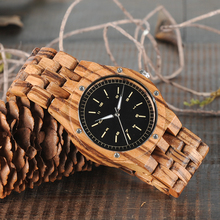 BOBO BIRD Zebra Wood Men's Date Time Week 24 Hours Wooden Watches Round Quartz Watch With Gift Wood Box