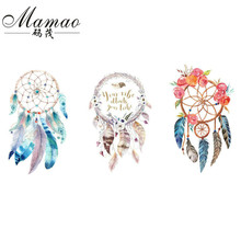 MAMAO Dreamcatcher Patch Iron On Transfer Flamingo Flower Letter Patches For Girls Clothing Stickers DIY Press Press Appliqued