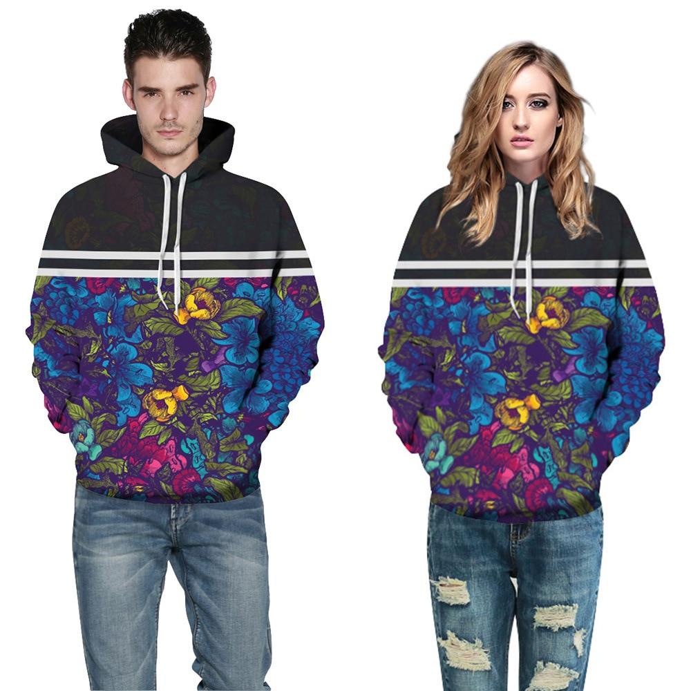 Fashion Plus Size 3XL 3D Sweatshirts Men/Women Striped Flowers Printed Hoodies Men Hooded Pullovers Sweatshirt Casual Outerwear