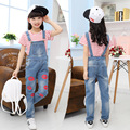 Summer Girl casual red striped t-shirt+ denim Overalls Children's Clothing  Girls Suit teenage girl  6-10-13 age clothes kids