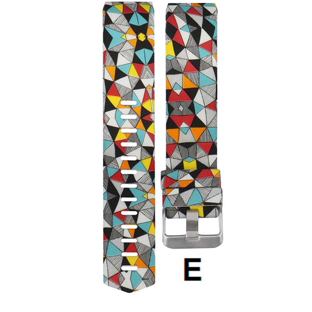 Colorful Watchband Fashion Sports Silicone watchband Bracelet Strap Band wristband For Fitbit Charge 2 Pattern Wrist Strap 2018 in Watchbands from Watches