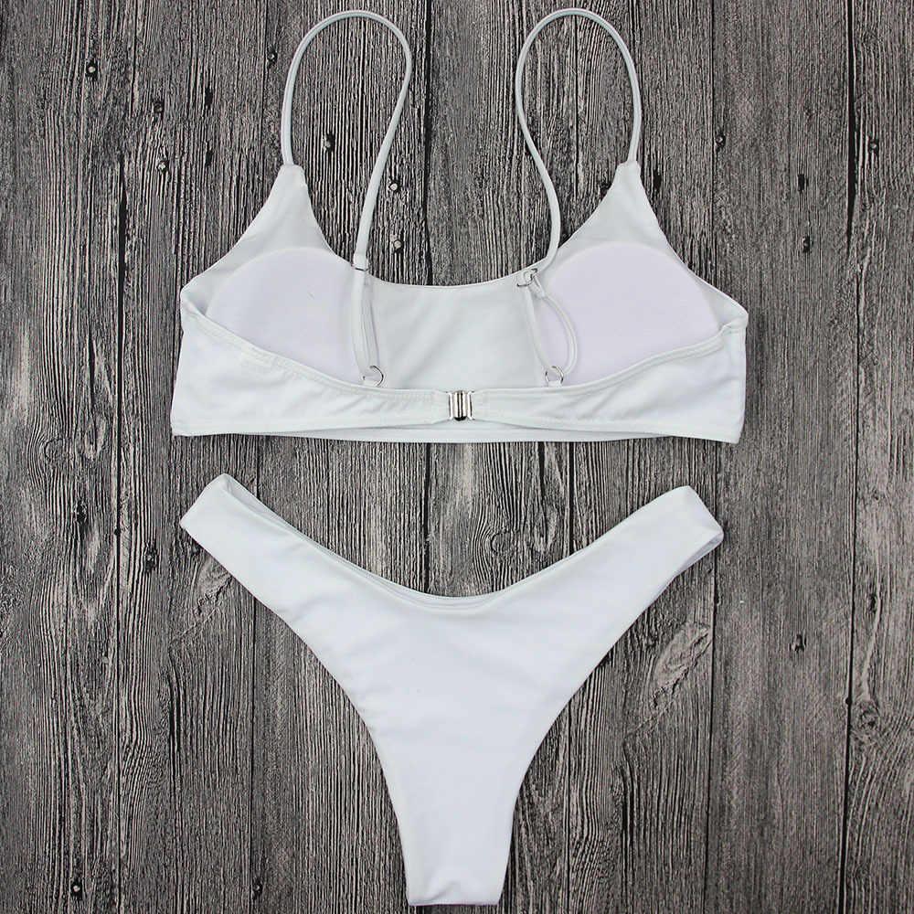 235a22aafe538 ... New Model Women Sexy Bikini Set Solid Bikinis Black or White Low Waist  Female Swimsuit 2 ...