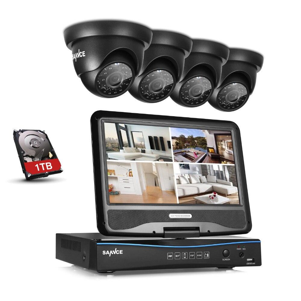 "bilder für Sannce 10,1 ""lcd 4ch hd 720 p dvr 1500tvl in/outdoor home security camera system 1 tb"