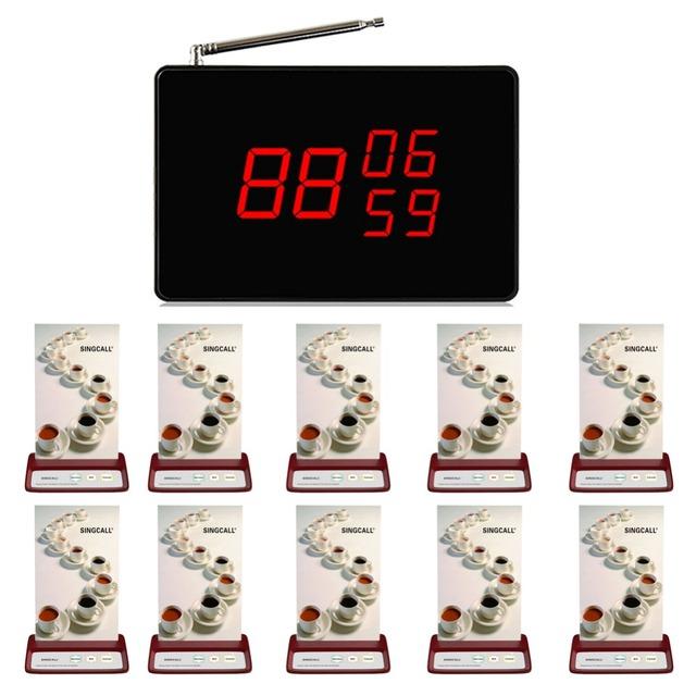 Sistema de chamada do garçom SINGCALLwireless, serviço de mesa do restaurante, 1 visor preto and10 marca serviço vermelho botões de chamada