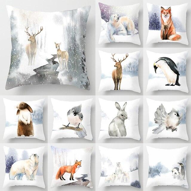 Pittura ad acquerello Animale Copertura del Cuscino 45*45 Poliestere Casa Copert