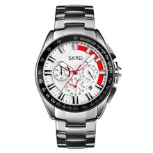 цена SKMEI Quartz Watch Stainless Steel Strap Calendar Watch 30m Waterproof Business Casual Watch Models Relogio Watches онлайн в 2017 году