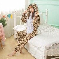 Leopard Pajama Set Women Men Unisex Adult Animal Pijama Flannel Onesie Cosplay Sleepwear Hoodie Halloween Holiday