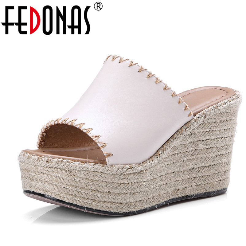 FEDONAS 2018 Women Genuine Leather Shoes Woman Wedges Heel Peep Toe Platforms Comfortable Casual Shoes Woman Sandals Black Beige new women sandals low heel wedges summer casual single shoes woman sandal fashion soft sandals free shipping