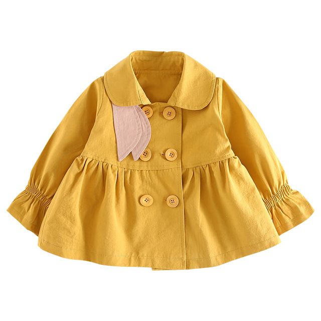 308bdc116e60 Spring Autumn Baby Girl Trench Coat Windbreaker Double Breasted Baby ...