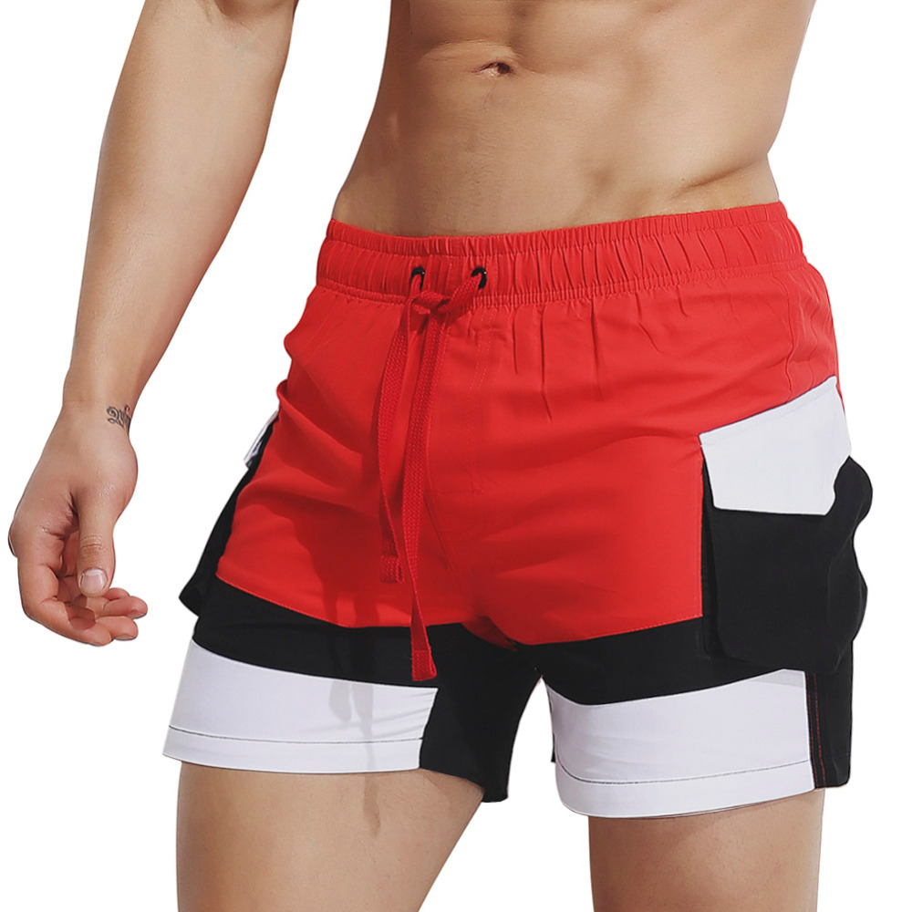 Men's beach short pants plus size swimwear Quick-drying movement surfing Sport patchwork running GYM pant swimming