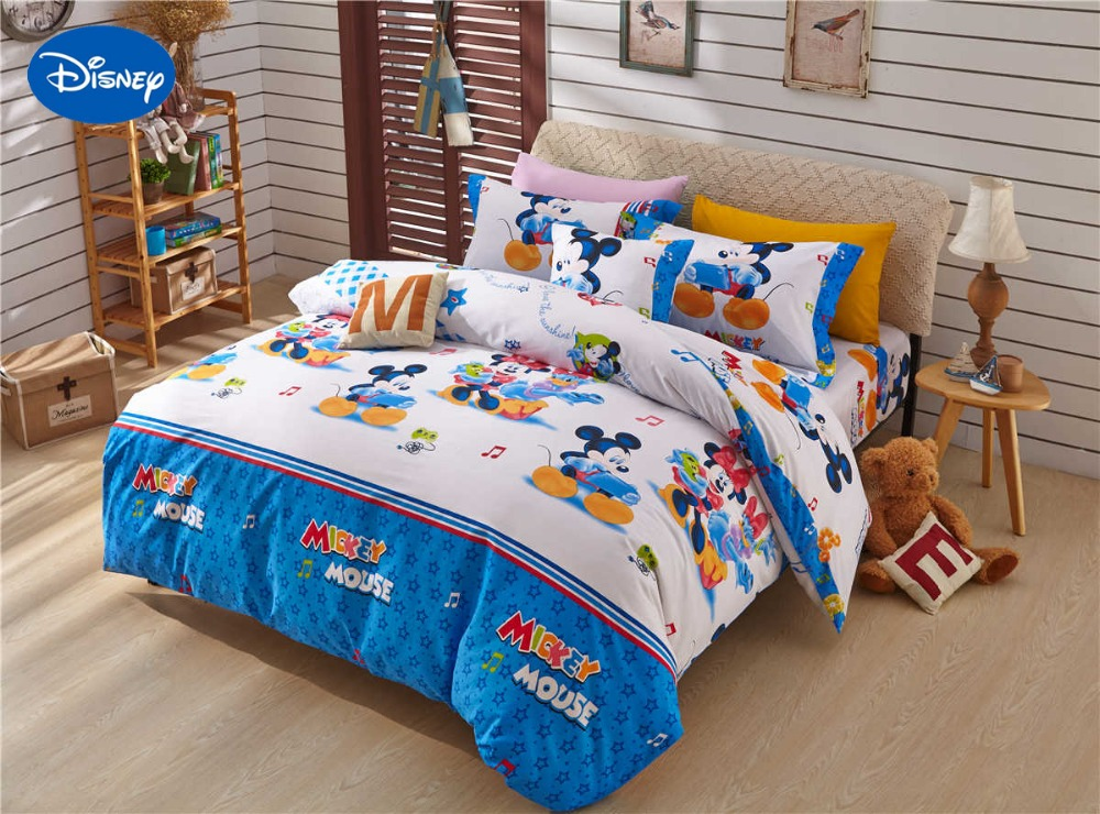 blue mickey and minnie mouse printed comforter bedding set twin full queen size bed covers. Black Bedroom Furniture Sets. Home Design Ideas