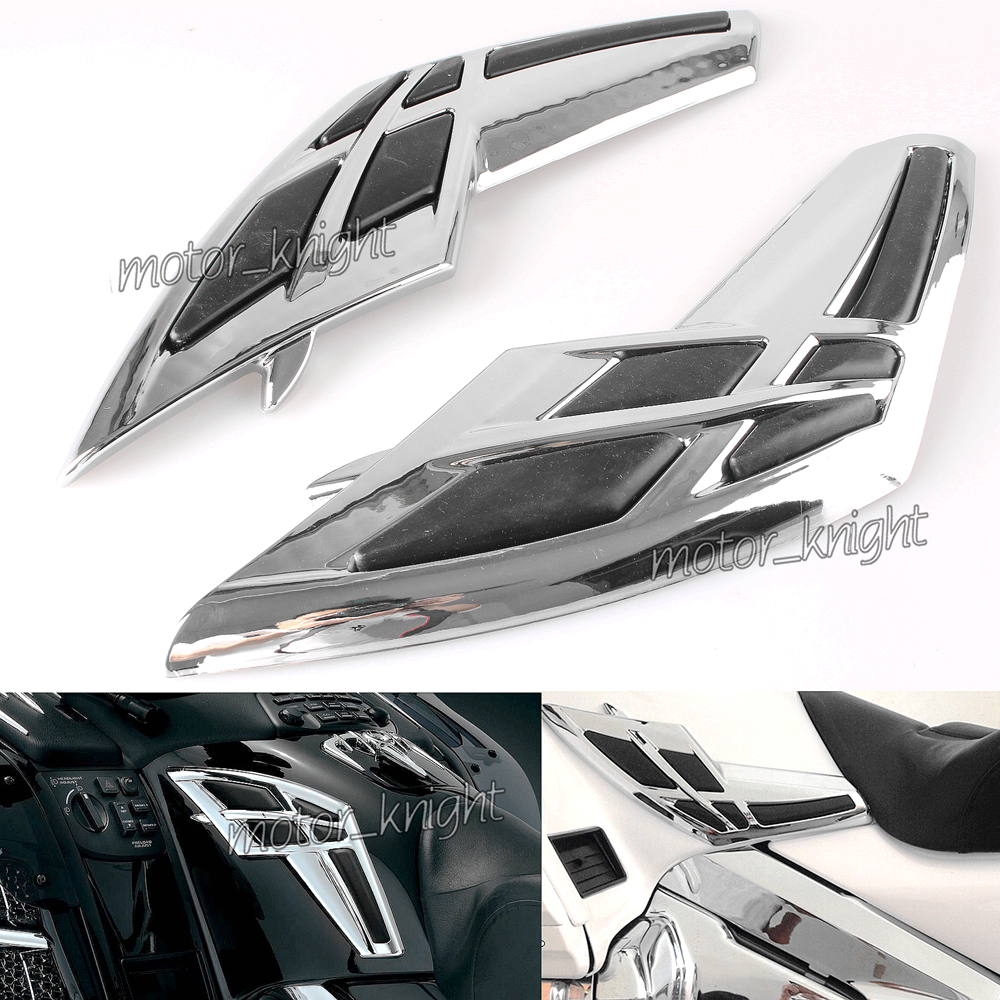 Motorcycle Goldwing Chrome Fairing Tank Trim With Knee Pads For Honda Gold Wing GL1800 2001-2011 02 03 04 05 06 07 08 09 10