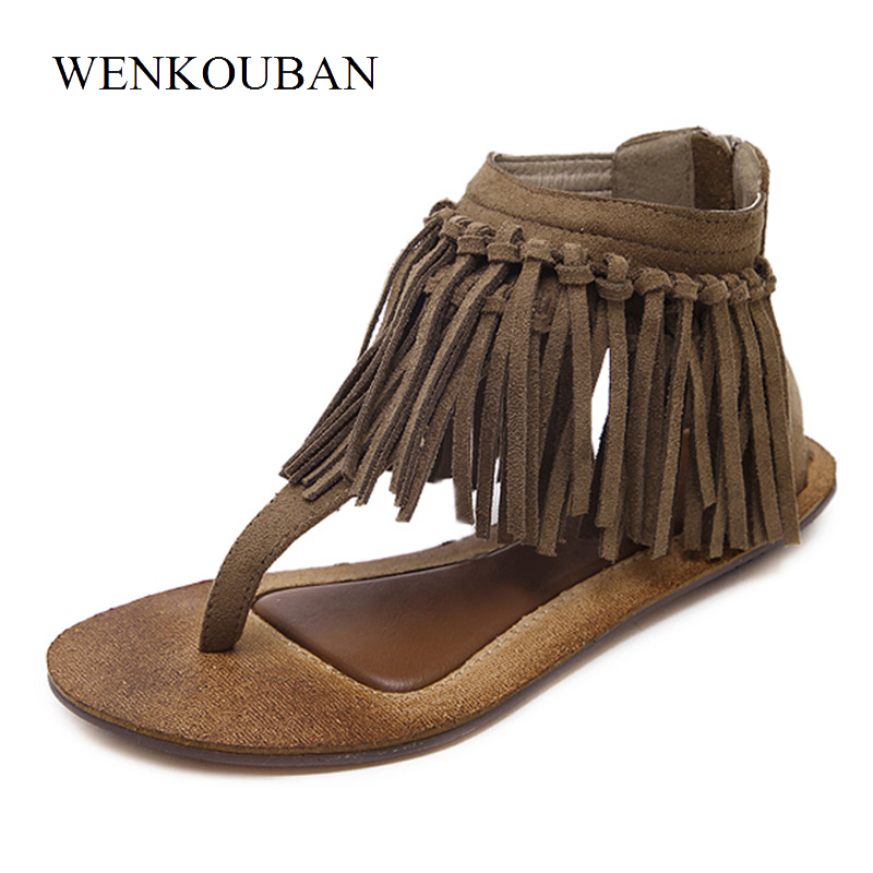 Gladiator Sandals Women Fringe Ankle wrap Flip Flops Shoes Ladies Summer Cover Heel Slippers Casual Retro Shoes Sapato Feminino rhinestone silver women sandals low heel summer shoes casual platform shiny gladiator sandal fashion casual sapato femimino hot