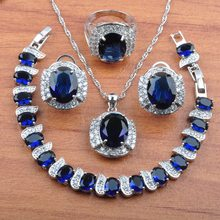 Amazing Bridal jewelry Blue Crystal Silver 925 Jewelry Sets Women Costume Wedding Jewelry CZ Earrings Necklace Ring Bracelets JS0240(China)