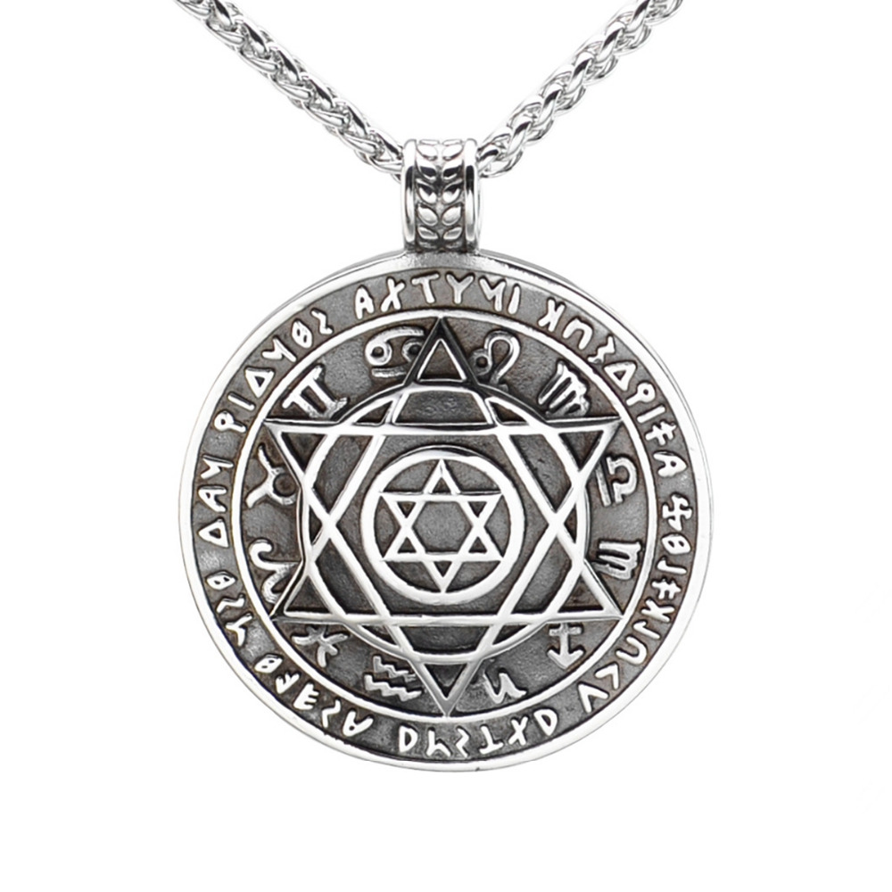 Vintage Look316L Stainless Steel Jewish Star of David Hexagram Round Pendant Necklace SS Chain 70CM Long