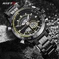 Ristos многофункциональный хронограф мужские спортивные часы из нержавеющей стали аналоговые модные наручные часы Relojes Masculino военный 9339