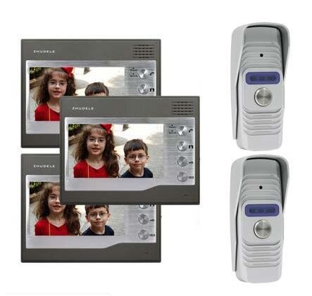ZHUDELEHome Security for 2 Doors Kits 3X7Video Door Phone Intercom Doorbell Monitorsl+2XSmart HD IR Camera w/t Waterproof Cover