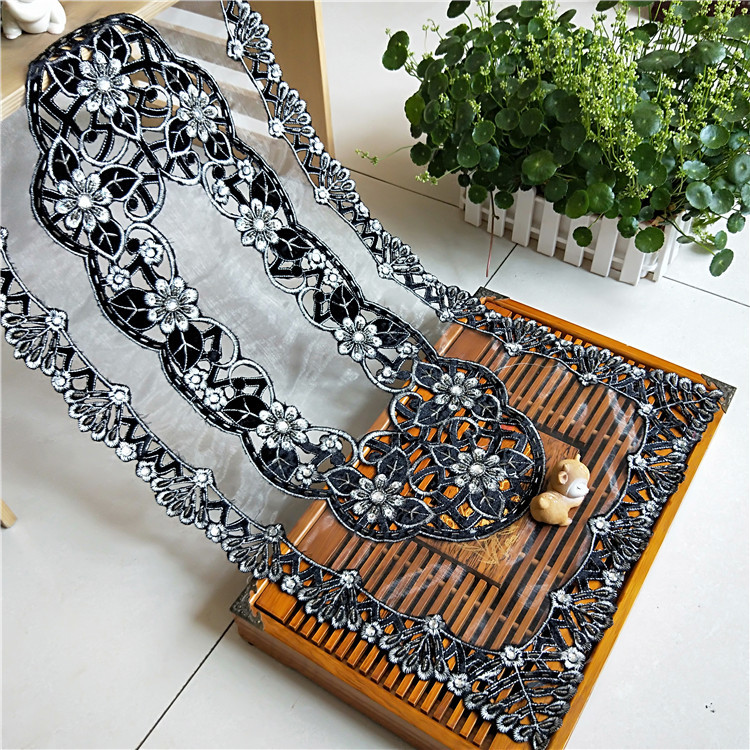 40x85cm Transparent Mesh Hand studded Cloth Stitching Tablecloth Dressing Table Shoe Cabinet Coffee Sideboard Cover Towel Tapete-in Tablecloths from Home & Garden