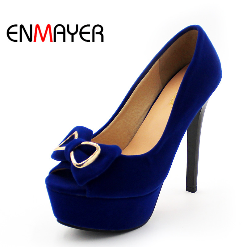 ENMAYER Sexy Blue Shoes Woman Peep Toe Pumps Bowties Charms Supper High Heels Platform Shoes Large