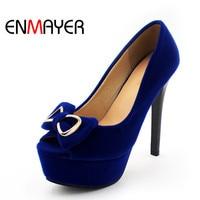 ENMAYER Sexy Blue Shoes Woman Peep Toe Pumps Bowties Charms Supper High Heels Platform Shoes Large Size 34 43