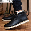 Wikileaks Hot Selling Men's Fashion Solid Warm Winter Snow Boots Male Casual PU Thick Plush Men Ankle Boots Shoes Botas Hombre