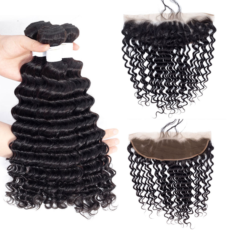Clover Leaf Kinky Curly Remy Human Hair Weave 3 Bundles With 13X4 Lace Frontal Human Hair Extensions Peruvian Remy Hair Weave