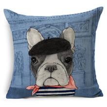 Animal Francés Bulldog Perro Pug Decoración Silla de Oficina Cojín Del Sofá Cojín Decorativo Tejido de Lino de Algodón Puf 45×45 cm d262