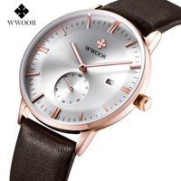 Luxury Brand Ultra Thin Date Genuine Leather Men Quartz Watch Rose Gold Casual Sports Watches Men