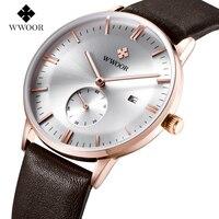 Luxury Brand Ultra Thin Date Genuine Leather Men Quartz Watch Rose Gold Casual Sports Watches Men