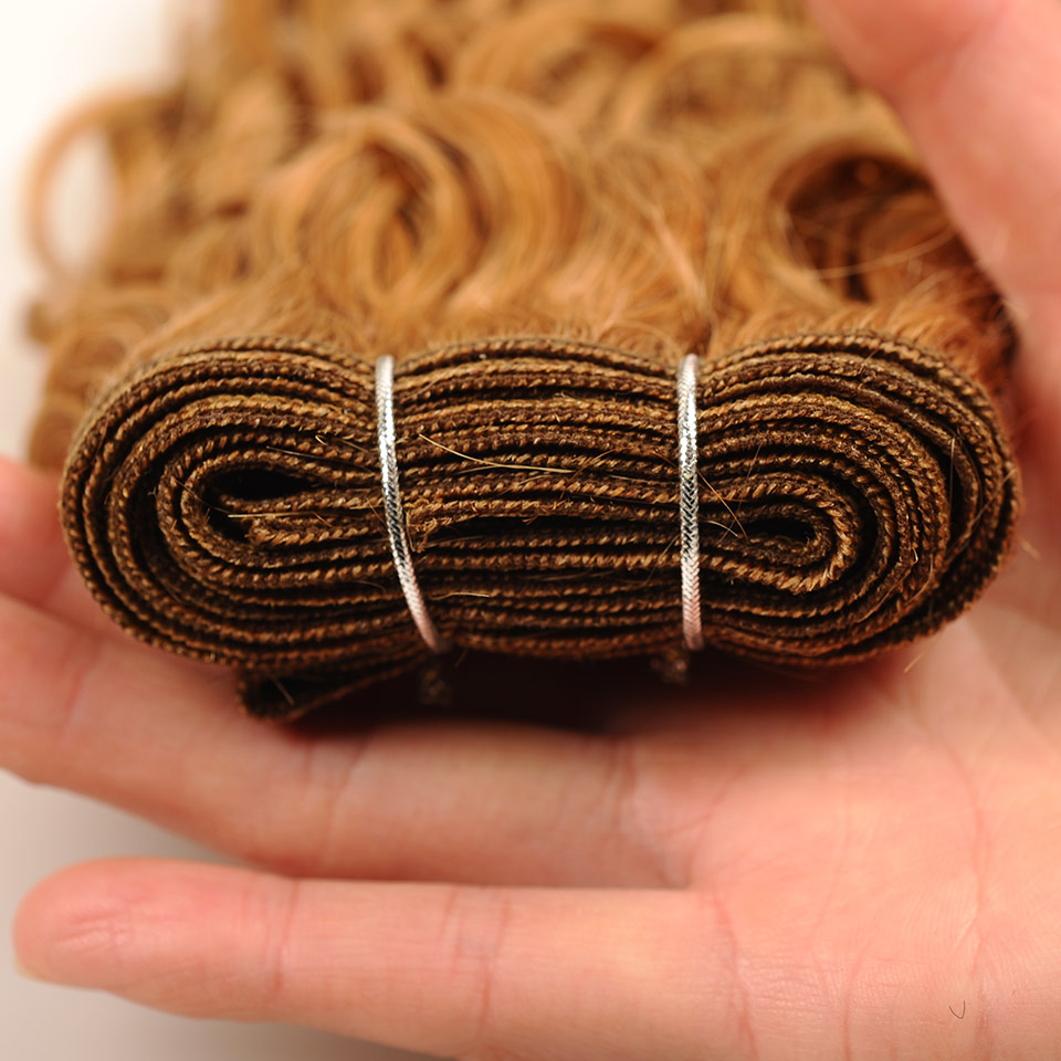 Pinshair Per-Colored Honey Blonde 27 Peruvian Water Wave Hair Weft 3 Bundles 100% Human Hair Weave Extension Non Remy Thick Hair (11)