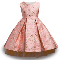 2017 New Style Baby Girl Flower Gold Wire Girl Dress For Wedding Kids Party Dresses Christmas