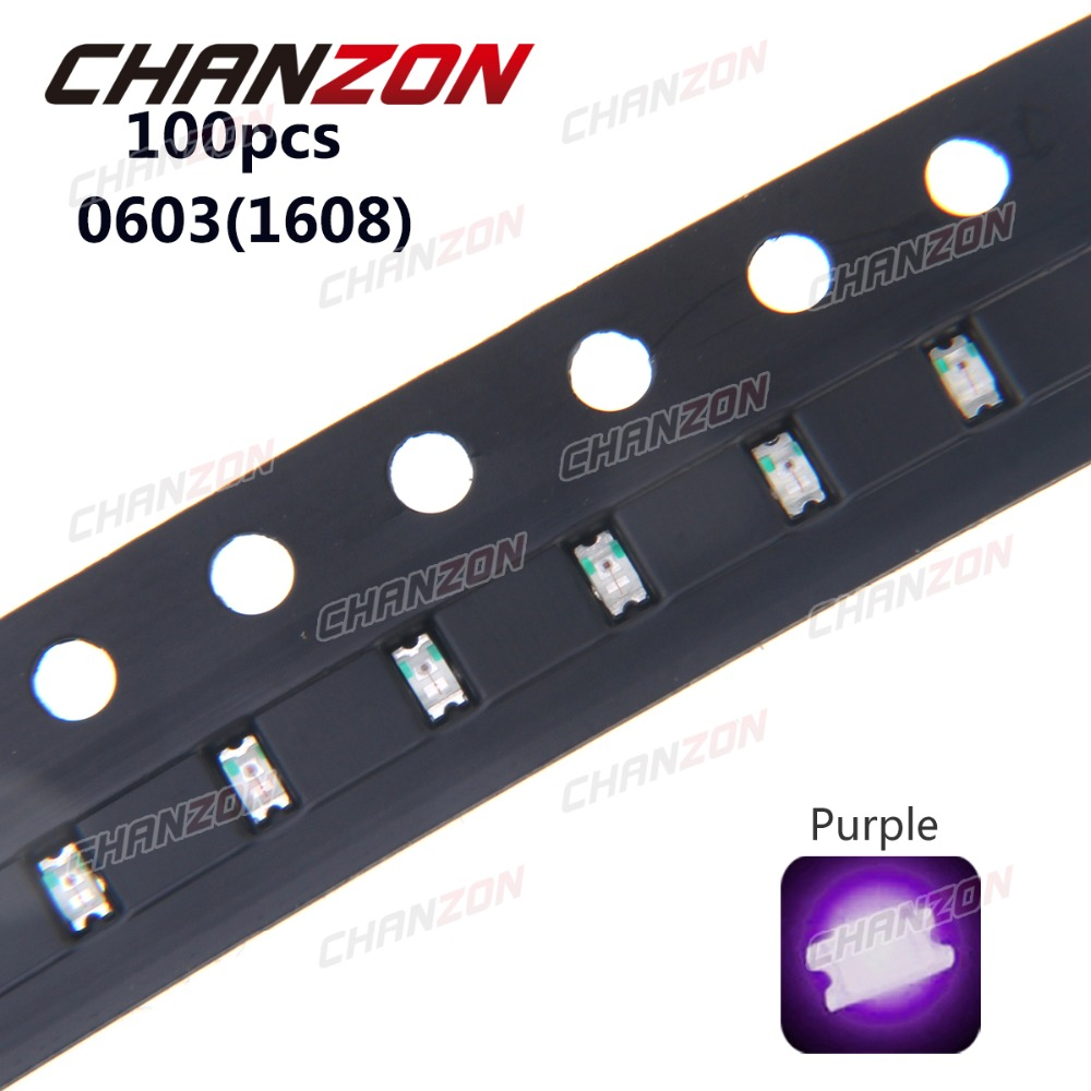100pcs 0603 (<font><b>1608</b></font>) Purple UV <font><b>LED</b></font> Chip 20mA Surface Mount <font><b>SMD</b></font> Diode Ultraviolet 395nm - 400nm <font><b>SMD</b></font> <font><b>LED</b></font> Light Emitting Diode Lamp image