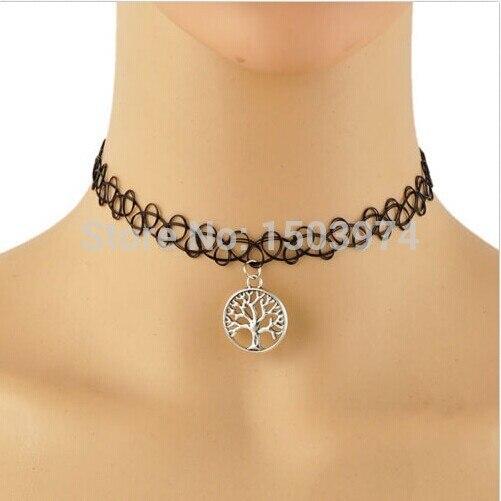 Tattoo Chokers Necklace Fashion Yin Yang Cross Tree Of Life Necklace
