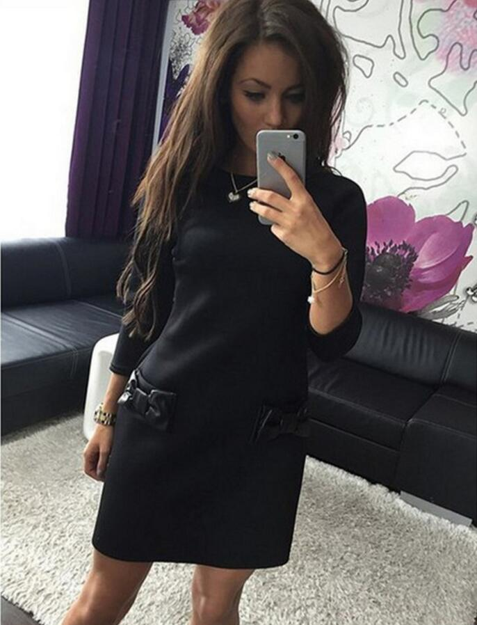 Women Bow Mini Dresses 2018 New Arrival Spring Summer Straight Casual Dress Three Quarter Sleeves Solid Dress in Dresses from Women 39 s Clothing
