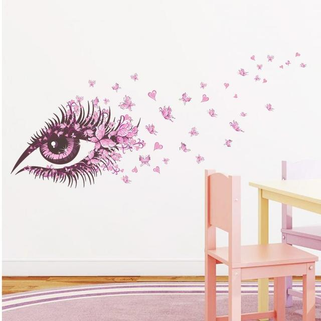 Aliexpresscom Buy Pretty Eyes Pink Flower Butterfly Love Fairy - Vinyl stickers designaliexpresscombuy eyes new design vinyl wall stickers eye wall