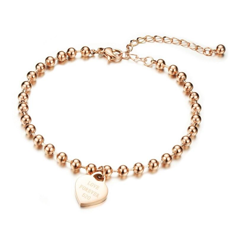 Красивая мода, розовое золото ювелирные изделия, titanium стали покрытие вакуум, не выцветают, сердце, круглый шарик, женский bracelet.808