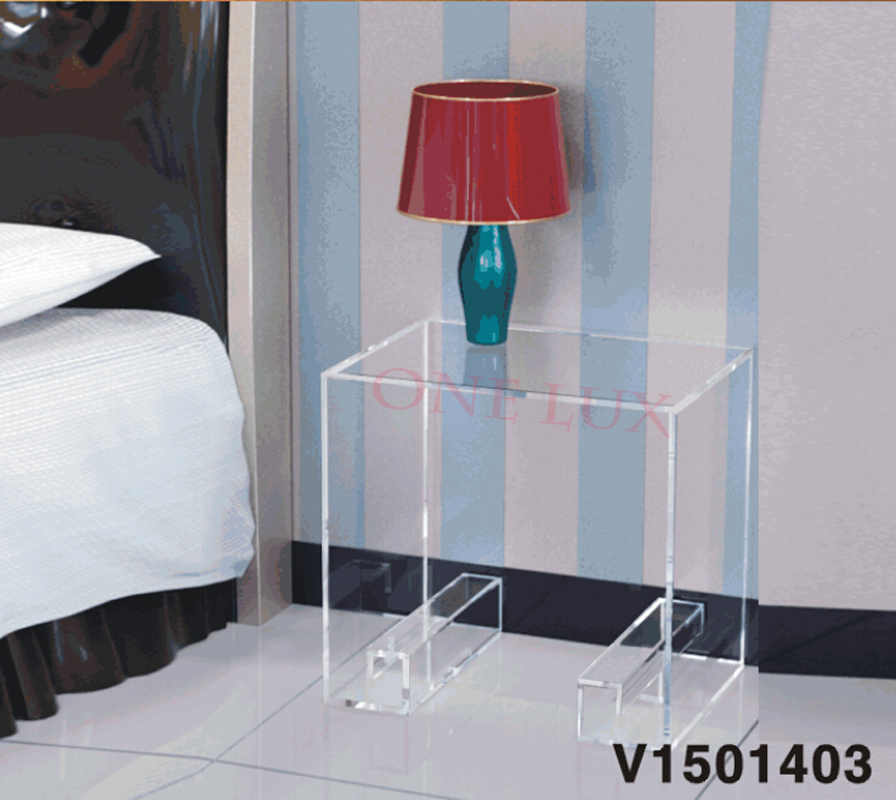 Waterfall Crystal Acrylic Bedside Magazine Table Curly Legs,Lucite Occasional Sofa Tea Tables/Nightstand