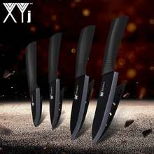 "XYj Top Quality Zirconia Oxide Ceramic Cleaver Black/White Blade 3"" 4"" 5"" 6"" inch + Covers Ceramic Knife Set Kitchen Fruit Knife(China)"