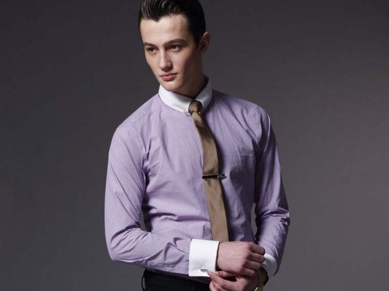 Wholesale Cotton high quality Men Shirt white collar light purple ...